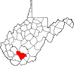 Map of West Virginia showing Raleigh County - Click on map for a greater detail.