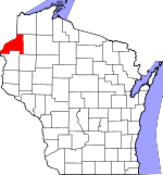 Map of Wisconsin showing Burnett County - Click on map for a greater detail.