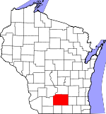 Map of Wisconsin showing Dane County - Click on map for a greater detail.