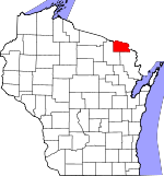 Map of Wisconsin showing Florence County - Click on map for a greater detail.