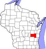 Map of Wisconsin showing Fond du Lac County - Click on map for a greater detail.