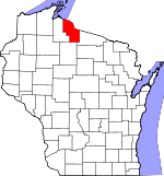 Map of Wisconsin showing Iron County - Click on map for a greater detail.