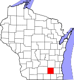Map of Wisconsin showing Jefferson County - Click on map for a greater detail.
