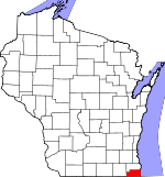 Map of Wisconsin showing Kenosha County - Click on map for a greater detail.
