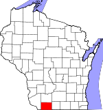 Map of Wisconsin showing Lafayette County - Click on map for a greater detail.
