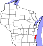 Map of Wisconsin showing Ozaukee County - Click on map for a greater detail.