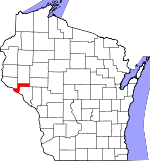 Map of Wisconsin showing Pepin County - Click on map for a greater detail.