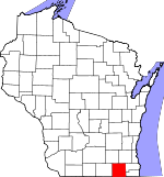 Map of Wisconsin showing Walworth County - Click on map for a greater detail.