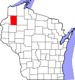 Map of Wisconsin showing Washburn County - Click on map for a greater detail.