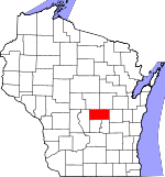 Map of Wisconsin showing Waushara County - Click on map for a greater detail.