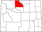 Map of Wyoming showing Big Horn County - Click on map for a greater detail.