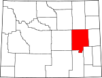 Map of Wyoming showing Converse County - Click on map for a greater detail.