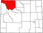 Map of Wyoming showing Park County - Click on map for a greater detail.