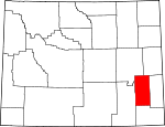 Map of Wyoming showing Platte County - Click on map for a greater detail.