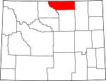 Map of Wyoming showing Sheridan County - Click on map for a greater detail.